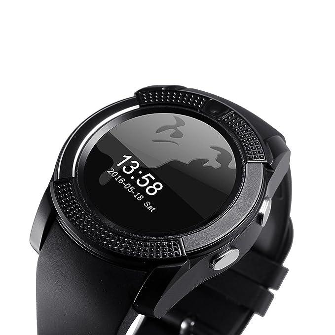 Tookie V8 - Reloj inteligente con Bluetooth, pulsera deportiva, tarjeta SIM GSM, podómetro para Android, 0.02, color negro: Amazon.es: Deportes y aire libre