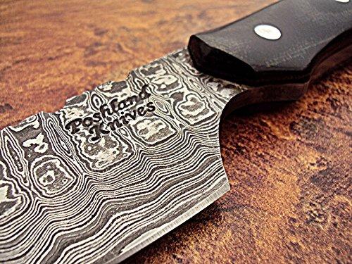 Poshland SK-395, Custom Handmade Full Tang Damascus Steel Skinner Knife - Beautiful Black Brown Canvas Micarta Handle