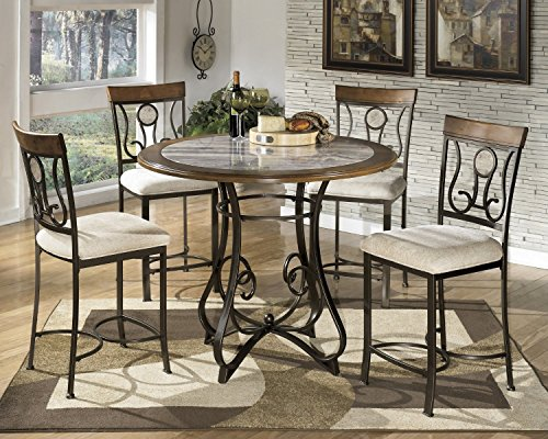 GTU Furniture 5pc Hops Metal Round Marble Table & Chairs Dining Room/ Kitchen Set (Counter Height)