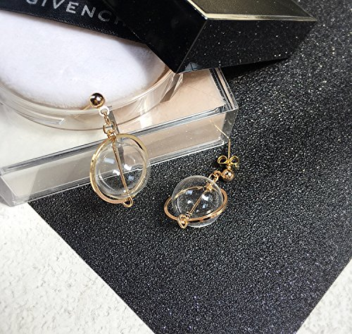 Pierced ear clip small fresh polar hands-free Korean version of a simple ball bubble circle female workers glass ornaments glass earrings ear ring