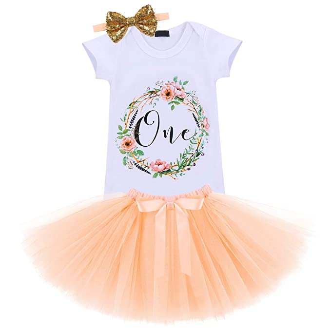 a46cccc43 Baby Girls It's My First 1st Birthday Cake Smash Outfit Romper Tutu Skirt  Headband 3PCS Toddler Princess Dress Costume
