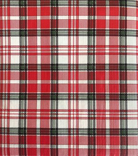 Lintex Christmas Plaid PEVA Non Toxic, Non PVC Vinyl Bold Christmas Tablecloth - PEVA Flannel Backed Holiday Tablecloth, 70 Inch - Plastic Washable Tablecloth