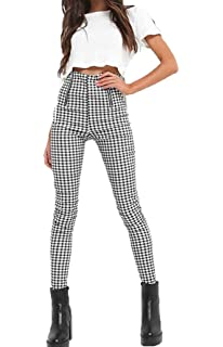 a5fd79e1249 Gueuusu Women s High Waist Plaid Skinny Pants Slim Fit Pencil Pants Trousers  Leggings