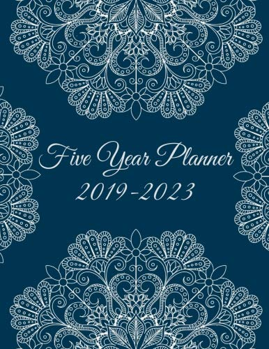 Monthly Planner Multi Year - Five Year Planner 2019-2023: Blue Color Mandala, 8.5