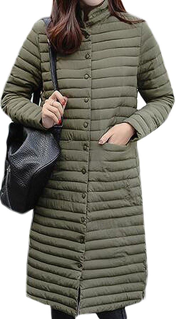 Green FashionRun Women's Slim Long Outwear Zip Down Classic Winter Light Weight Down Jacket Coat