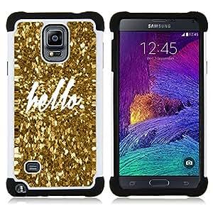 """Hypernova Híbrido Heavy Duty armadura cubierta silicona prueba golpes Funda caso resistente Para Samsung Galaxy Note 4 IV / SM-N910 [Hola Bling del oro de la chispa de texto blanco""""]"""