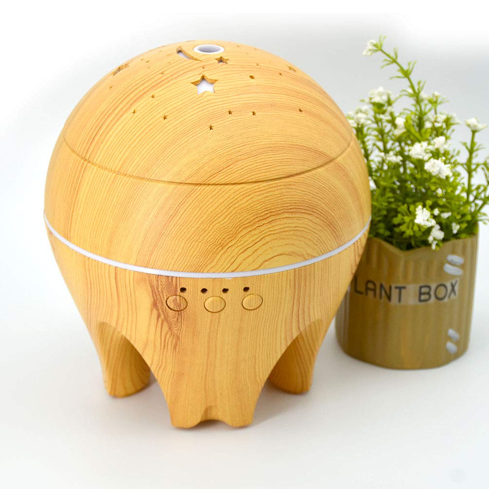 UK BONITOYS Wood Ultrasonic Cold Mist Humidifier Aromatherapy Essential Oil Diffuser with Adjustable Fogging and 7 LED Color Lights (Yellow) by UK BONITOYS (Image #7)