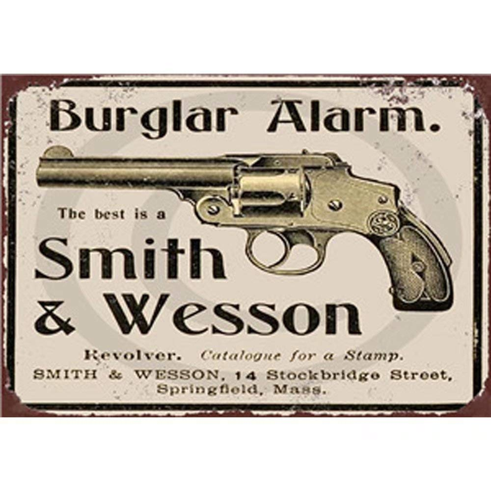 YOMIA Smith & Wesson Vintage Metal Signs Tin Plate Iron Painting Well Plaque Rust Paint Metal Poster Wall Decoration for Cafe Bar Restaurant