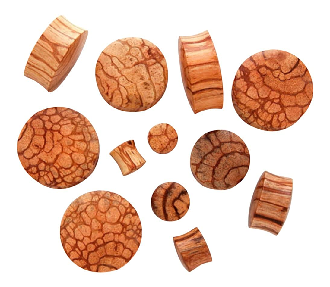 PAIR of Bun Abrask Wood Plugs Gauges - select size from 8g all the way up to 30mm p544 - 0g