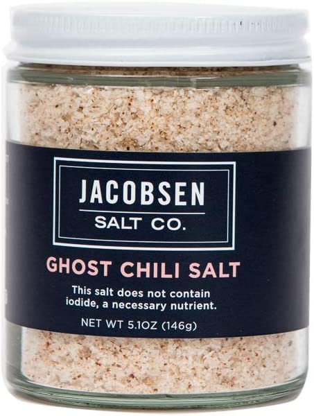 Jacobsen Salt Co. Specialty Sea Salt for Fancy Gourmet Cooking, Infused Sea Salt, Ghost Chili Flavored, 5.1 Ounce