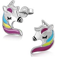Pendientes de plata de ley 925 unicornio niña, pendientes perforados no alérgicos 925, regalo de cumpleaños