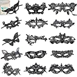 Gellwhu Women's Sexy Black Lace Venetian Masquerade Masks Halloween Party Pack of 15