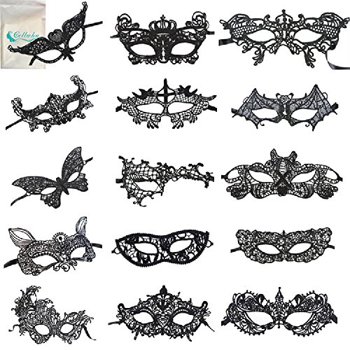 Lace Face Mask (Venetian Masquerade Mask,15 Pack Gellwhu Women Sexy Black Lace Masks for Masquerade Ball)