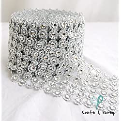 "Silver Diamond Flower Shape Mesh Wrap Roll Faux Rhinestone Crystal Ribbon 4"" x 10 yards (30 ft)"