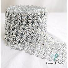 "Silver Diamond Flower Shape Mesh Wrap Roll Faux Rhinestone Crystal Ribbon 4"" x 10 yards (30 ft)"