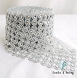 flower crystal - Silver Diamond Flower Shape Mesh Wrap Roll Faux Rhinestone Crystal Ribbon 4