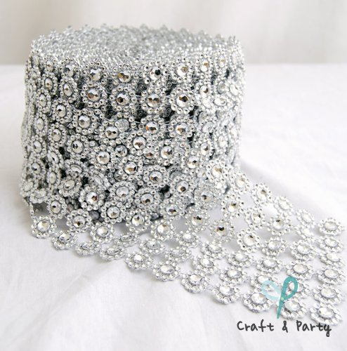 (Silver Diamond Flower Shape Mesh Wrap Roll Faux Rhinestone Crystal Ribbon 4