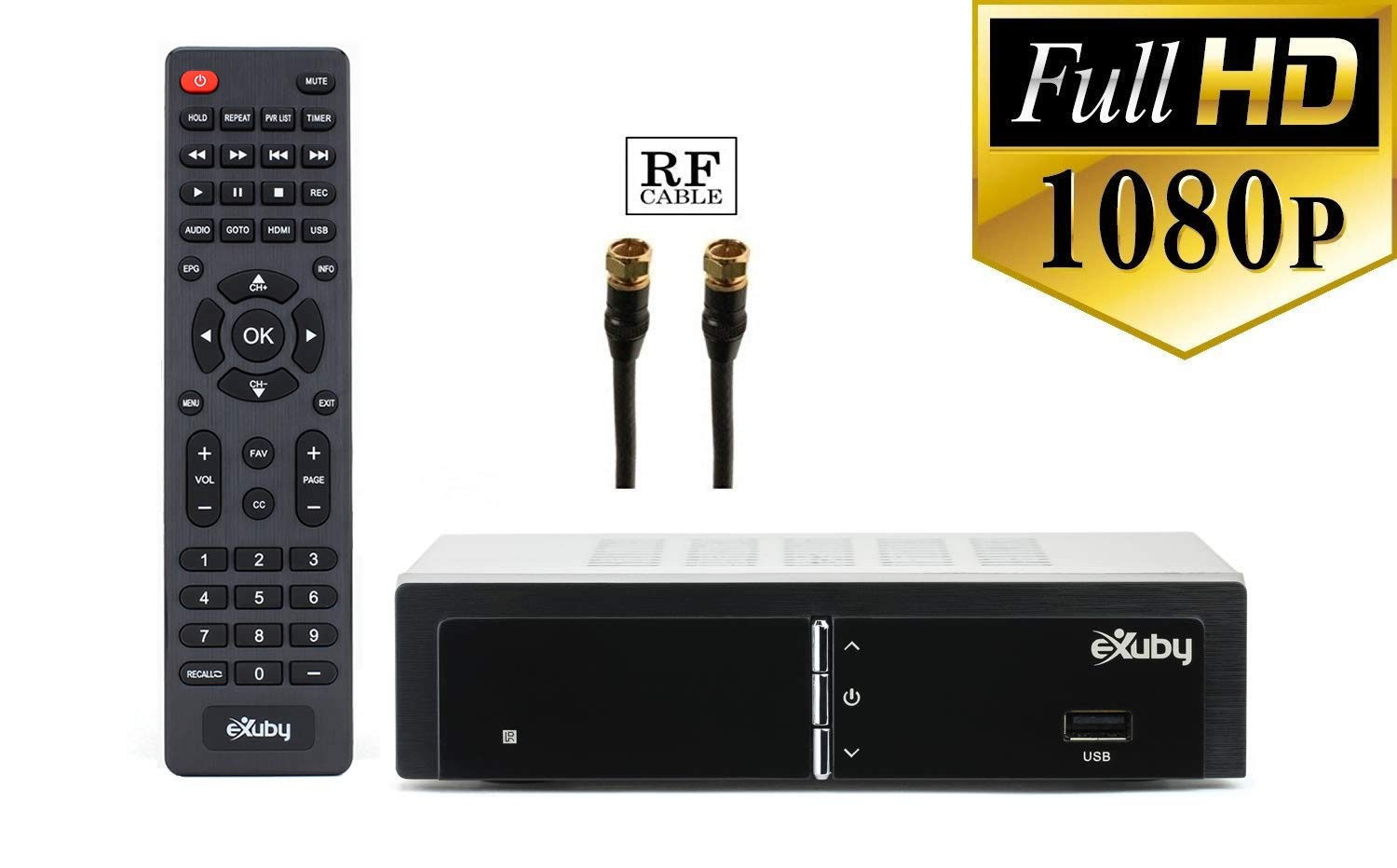 Exuby Digital Converter Box for TV w/ RF/Coaxial Cable for Recording and Viewing Full HD Digital Channels (Instant or Scheduled Recording, 1080P HDTV, HDMI Output, 7 Day Program Guide)