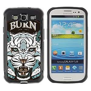 ZAKO Cases / Samsung Galaxy S3 I9300 / BURN - Tiger - / Robusto Prueba de choques Caso Billetera cubierta Shell Armor Funda Case Cover Slim Armor