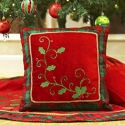 valery madelyn 1616 inch traditional holly leaves christmas decorative pillow