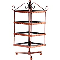 MagiDeal Copper Color Metal Rotating Revolving Earring Jewelry Display Stand Rack 96 Holes