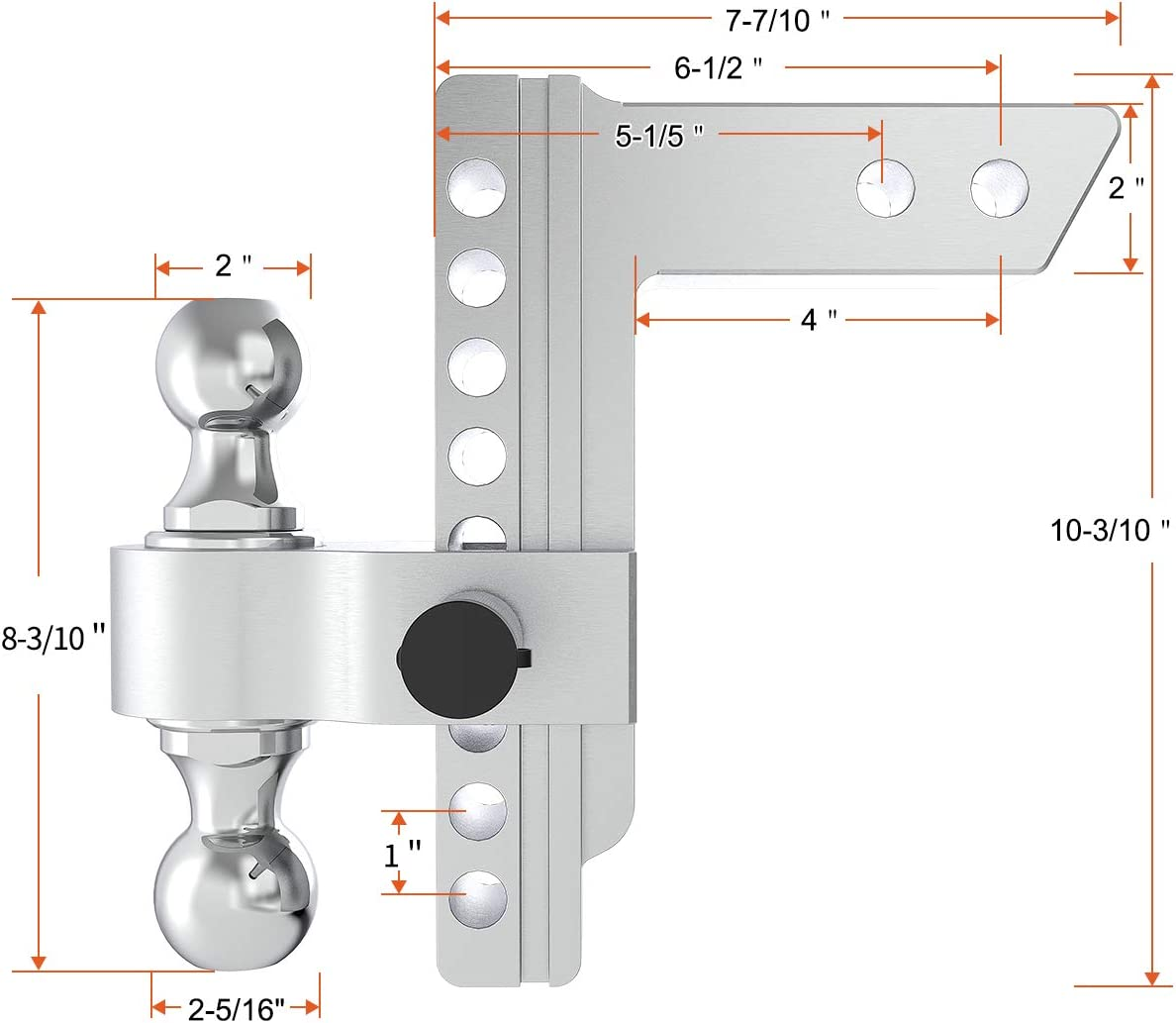 Silver Fits 2-Inch Receiver 6-Inch Drop//Rise YITAMOTOR Adjustable Trailer Hitch Ball Mount w//Forged Aluminum Shank 2 /& 2-5//16 Combo Tow Balls with Double Pins and Locks