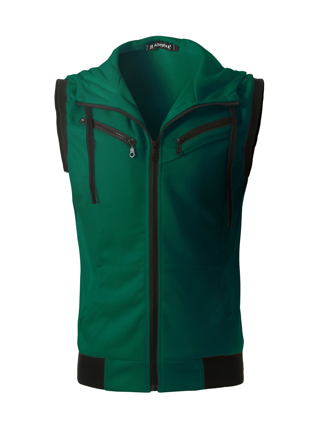 uxcell Men's Drawstring Hooded Zip Closure Sleeveless Vest Jacket Waistcoat w Pockets Green M (US 40) by uxcell