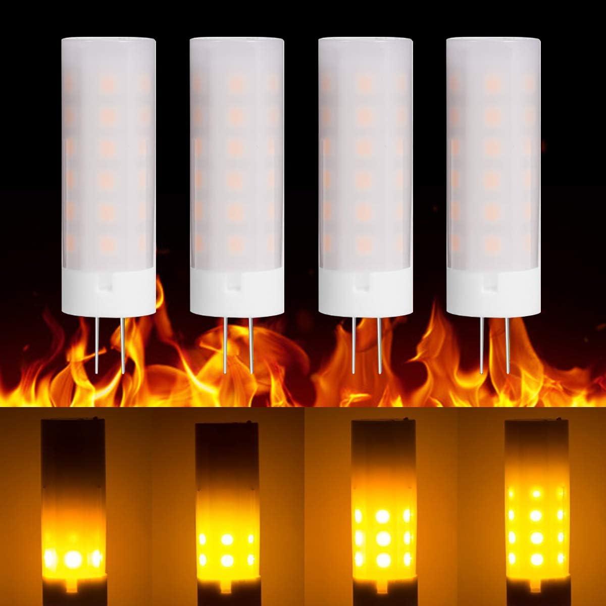 Luz de llama Base LED G4 2W Bombillas de efecto de fuego 36LEDs 2835 SMD DC 8-30V Fuego parpadeante Bombillas LED Iluminación simulada Estufa de leña Vela Campamento Influencia