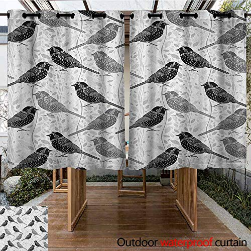 AndyTours Outdoor Curtain Panel for Patio,Grey,Floral Flower Buds Leaves Pattern English Country Style Victorian Lace Image Print,Great for Living Rooms & Bedrooms,K160C160 Grey White