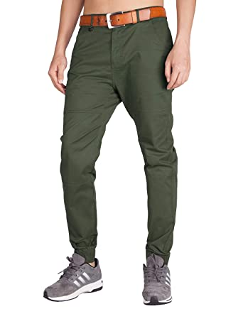 19849cab ITALY MORN Men's Chino Jogger Pants Slim Fit Elastic Cuff (30, Army Green)