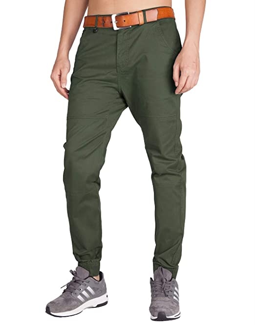 b20fd35c ITALY MORN Men's Jogger Casual Chino Pants Flat Front Stretch Boy Slim Fit  (30,