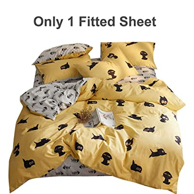 AMZTOP 【Latest Arrival】 Cute Cartoon Fish Bone Printed Grey Queen Sheet for Kids Boy Children 100% Cotton Comfortable and Durable Grey Bottom Fitted Sheet(Only One Fitted Sheet): Home & Kitchen