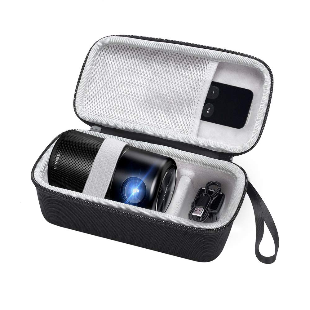 Esimen Hard Travel Case for Nebula Capsule Smart Mini Projector by Anker and Remote Control USB Flash Drive Accessories Carry Bag Protective Storage Box (Upgraded Version)