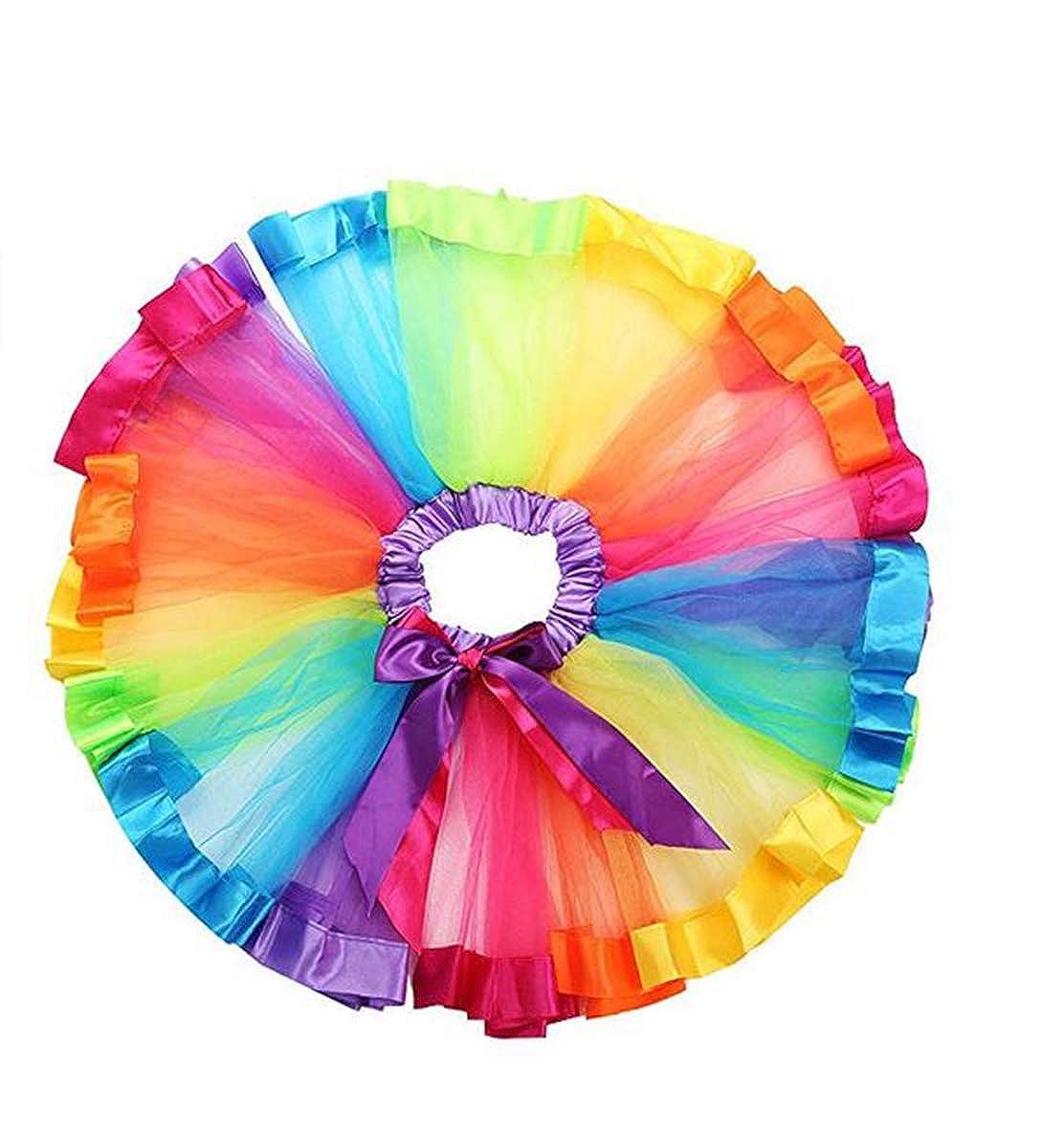 Tempura 女の子用 レイヤード レインボー チュチュスカート ダンスドレス フリル ティアード バレエ チュール スカート 誕生日パーティー ドレスアップ S (0-2Y)  B07J5V9NH2