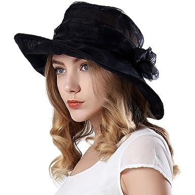 Keyone Ladies Organza Hat Summer Sun Beach Hat for Wedding Wide Brim Church Ascot  Race Derby bd7aad13c06e
