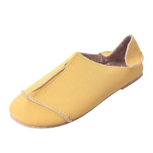 OHQ Mocasines Mujeres Casual Ronda Toe Bajos Ocio Suave Pisos Zapatos De Trabajo Femeninos Sandalias Romanas CóModo: Amazon.es: Zapatos y complementos