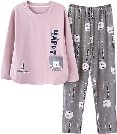 RGHOP Pijamas Ladies Cotton Pantalones de Manga Larga ...