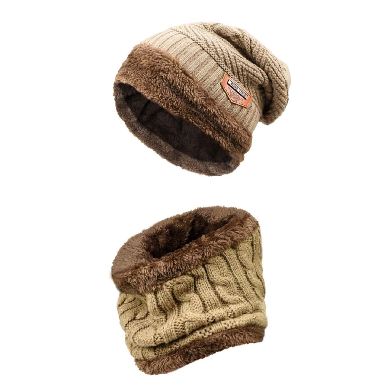 Bufanda Gorro Invierno un Conjunto Tejer Beanie Gorro Cálido Sombrero Más  Grueso con Bufanda Para Hombre Mujer 191075b6965