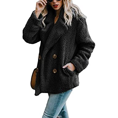 df127420cc8e Womens Oversized Teddy Bear Lapel Coat Ladies Faux Fur Borg Button  Outerwear Jacket with Pockets  Amazon.co.uk  Clothing