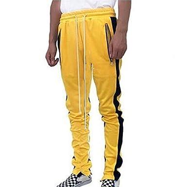 3972bf105040 Sporthose für Herren Bequem Elastische Taille Hose mit Kordelzug Mode  Mittlere Taille Gespleißte Farbe Beiläufig Trainingshose