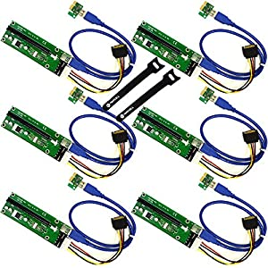 MintCell 6-Pack PCIe 4-Pin MOLEX PCI-E 16x to 1x Powered Riser Adapter Card w/ 60cm USB 3.0 Extension Cable & MOLEX to SATA Power Cable - GPU Riser Adapter Ethereum Mining ETH + 2 MintCell Cable Ties