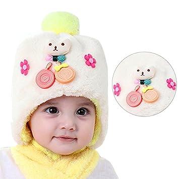 Chapeau Bonnet Unisexe Bébé, Bonice Bonnet en coton Chapeau Garçon Fille  Tricoté Pompon Doux Mignnone bb7f85088df
