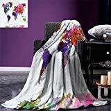 smallbeefly Watercolor Super Soft Lightweight Blanket Multicolored Hand Drawn World Map Asia Europe Africa America Geography Print Oversized Travel Throw Cover Blanket Multicolor