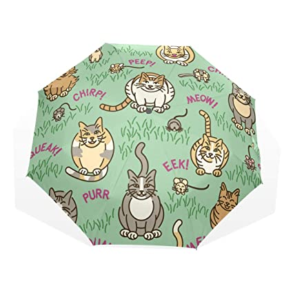 GUKENQ - Paraguas de Viaje para Gatos y Gatitos, Ligero, Anti Rayos UV,