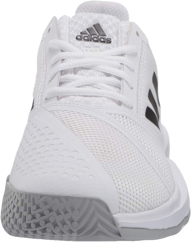 adidas Women's Courtjam Bounce W Wide Sneaker Ftwr White/Core Black/Matte Silver