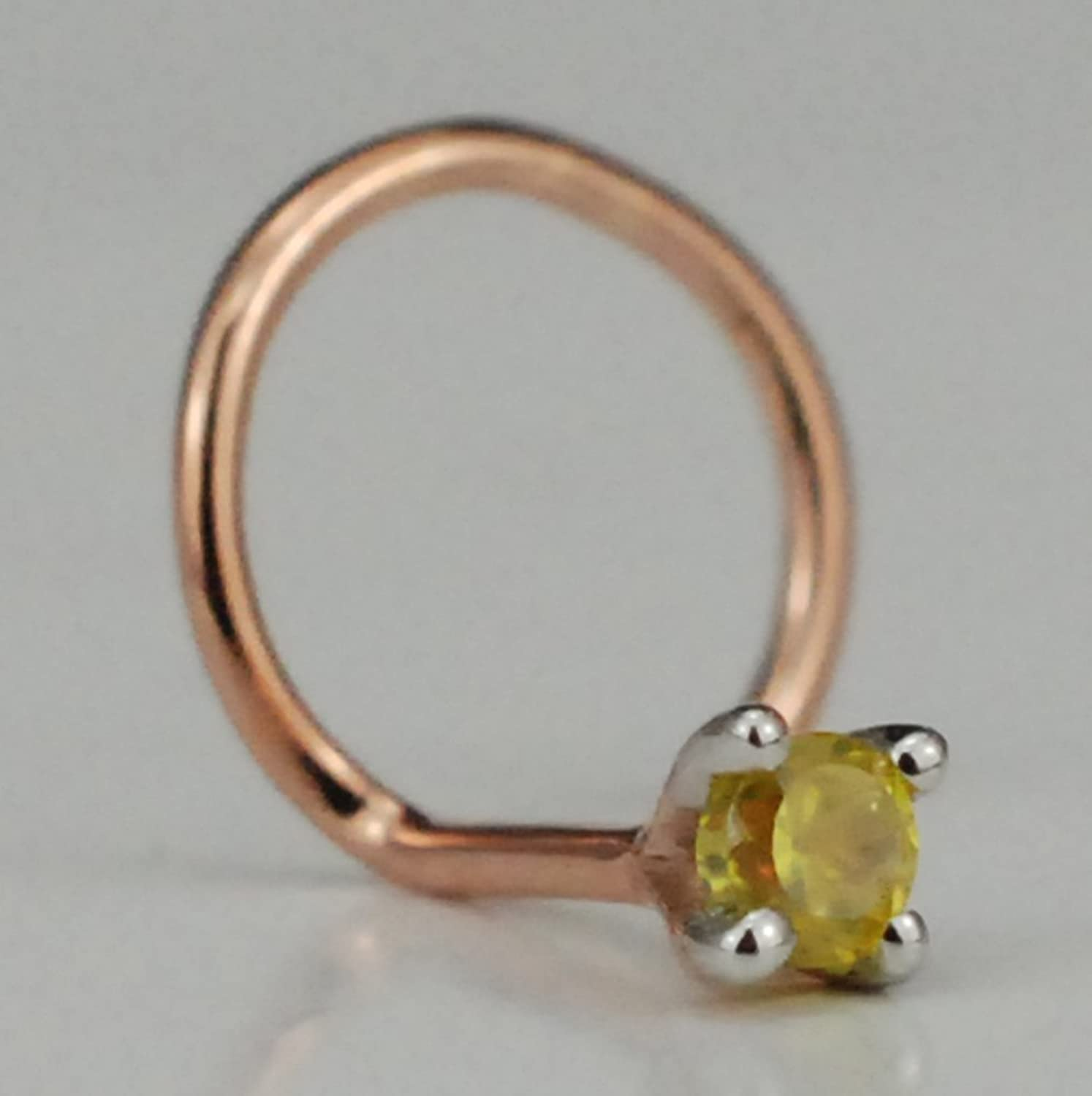 1.5mm Colored Stone and 14K Rose Gold (HallMarked) Nose Ring