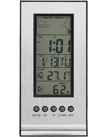 LCD Higrómetro digital, Termómetro Monitor de humedad Estación inalámbrica de pronóstico del tiempo Calendario digital