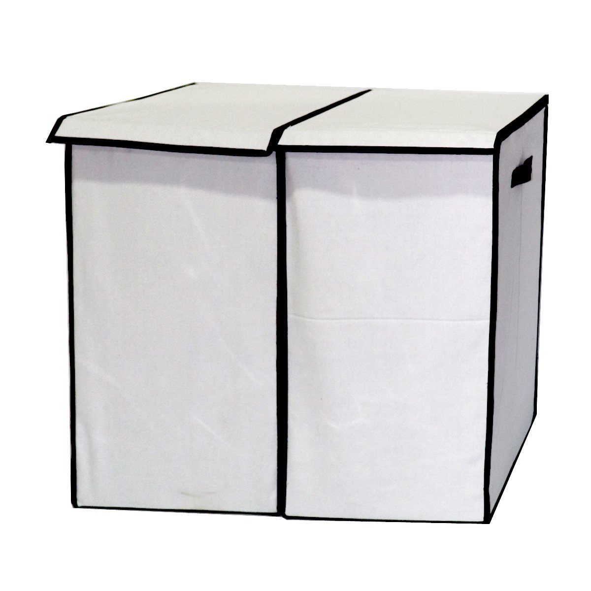 Laundry Hampers Collapsible Clothes Baskets with Lid-White-2 Pack
