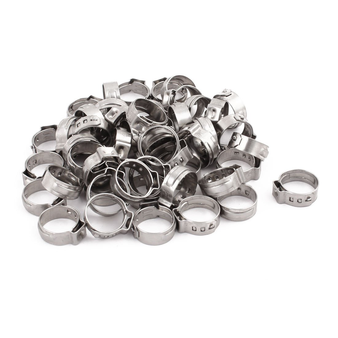 uxcell 13.7mm-16.2mm 304 Stainless Steel Adjustable Tube Hose Clamps Silver Tone 50pcs
