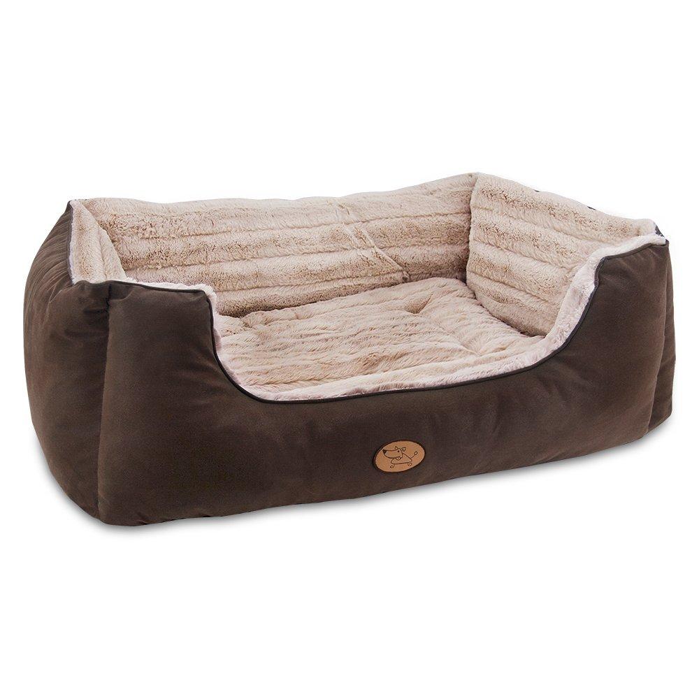 Dark Brown XX-Large (upto 70 Lbs) Dark Brown XX-Large (upto 70 Lbs) Best Pet Supplies-Faux Leather Square Bed-Dark Brown (XXL)